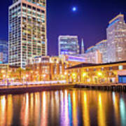 San Francisco Downtown City Skyline At Night Poster