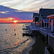 Sandy Neck Sunset At The Cottages Poster