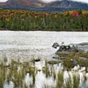 Sandy Stream Pond View Of Baxter Peak In Baxter State Park Maine Poster by Brendan Reals