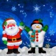 Santa And Frosty Painting Image With Canvased Texture Poster