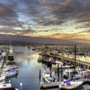 Santa Barbara Harbor Sunset Poster