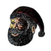 Santa Claus Three-quarter View Scratchboard Poster