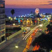 Santa Monica Ca Pacific Park Pier  Sunset Poster
