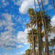 Santa Monica Ca Palisades Park Bluffs Palm Trees Poster