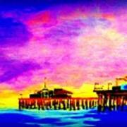 Santa Monica Pier A Night Poster