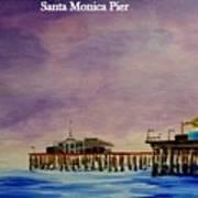 Santa Monica Pier At Night Poster
