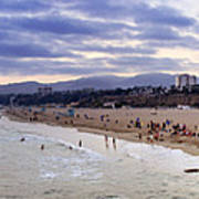 Santa Monica Sunset Panorama Poster