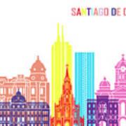 Santiago De Cali Skyline Pop Poster