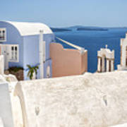 Santorini Blue House In Oia Poster
