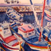 Santorini Boats Study Poster