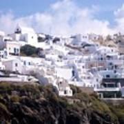Santorini Hillside 2 Poster
