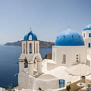Santorini Oia Churches Stitched Panorama Poster