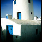 Santorini Silo With Border Poster