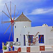 Santorini Windmills Poster
