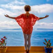 Santorini Yoga Goddess Poster