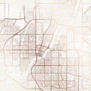Saskatoon Street Map Colorful Copper Modern Minimalist Poster