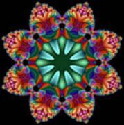 Satin Rainbow Fractal Flower II Poster