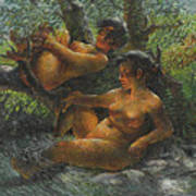 Savage Oil Painting Naked Female Poster