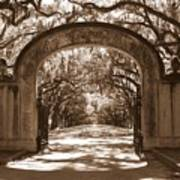 Savannaha Sepia - Wormsloe Plantation Gate Poster