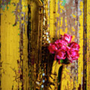 Saxophone And Roses On Wall Poster