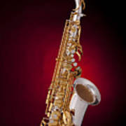 Saxophone On Red Spotlight Poster by M K  Miller