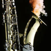 Saxophone With Smoke Poster by Garry Gay