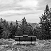 Scenic Bench In Black And White Poster