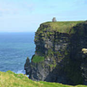Scenic Lush Green Grass And Sea Cliffs Of Ireland Poster