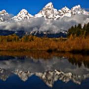Scenic Teton Fall Reflections Poster