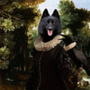Schipperke Art Canvas Print - Forest Landscape With A Hunter And Noble Lady Poster