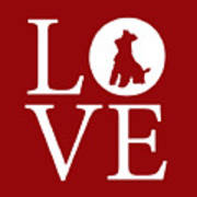 Schnauzer Love Red Poster