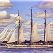Schooner Mystic Under Sail Poster