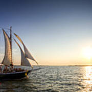 Schooner Welcome Sunset Charleston Sc Poster