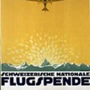Schweizerische Nationale Flugspende - Flight Donation - Retro Travel Poster - Vintage Poster Poster