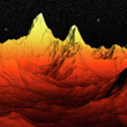 Sci Fi Mountains Landscape Poster