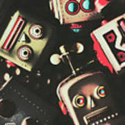 Science Fiction Robotic Faces Poster