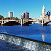 Scioto River With Waterfall Poster