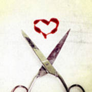Scissors And Heart Poster