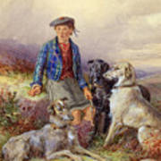 Scottish Boy With Wolfhounds In A Highland Landscape Poster by James Jnr Hardy