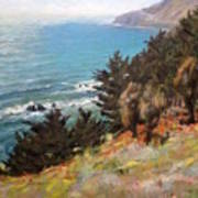 Sea And Pines Near Ragged Point, California Poster