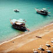 Sea Boats In The Laguna Poster