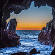 Sea Cave Sunset Poster
