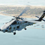 Sea Hawk Helicopter Flies Over  San Diego Poster