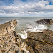 Sea Meets Rocks At Howick Poster