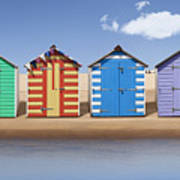 Seaside Beach Huts Poster