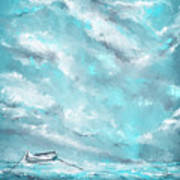 Sea Spirit - Teal And Gray Art Poster