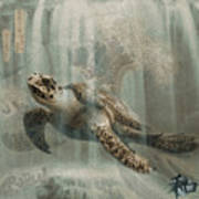 Sea Turtle Great Wave Poster