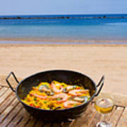 Seafood Paella In Cafe Poster