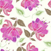 seamless   pattern of watercolor Fuchsia Flowers Poster