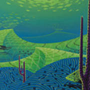 Seascape With Brain Coral And A Blue Striped Grunt Poster